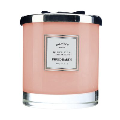 Wax Lyrical geurkaars darjeeling damask rose glas groot